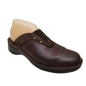 Naot 9 Brown Clogs Slip On Leather Slides Brads